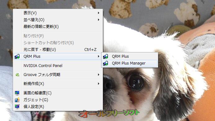 QRM Plus Manager--右クリックメニュー--オールフリーソフト