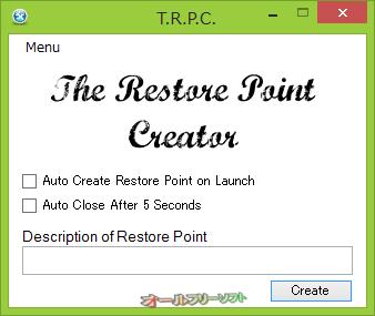 The Restore Point Creator--起動時の画面--オールフリーソフト
