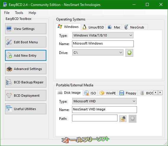 EasyBCD--Add New Entry--オールフリーソフト