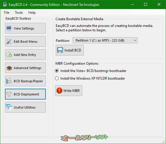 EasyBCD--BCD Deployment--オールフリーソフト