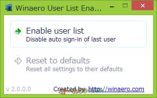 User List Enabler for Windows 8--起動時の画面--オールフリーソフト