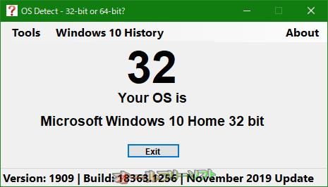 OS Detect - 32-bit or 64-bit?--起動時の画面--オールフリーソフト