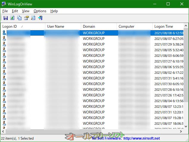 WinLogOnView--右クリックメニュー--オールフリーソフト