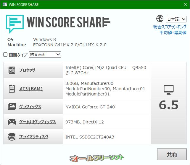 WIN SCORE SHARE--計測結果--オールフリーソフト
