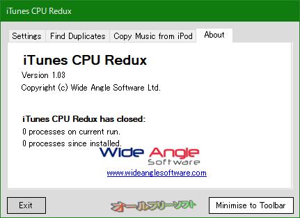 iTunes CPU Redux--About--オールフリーソフト