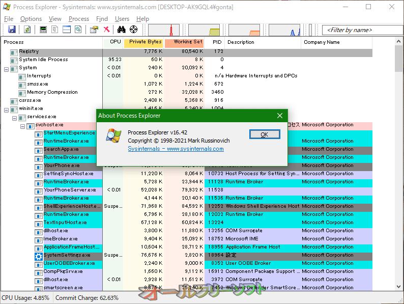 Process Explorer--16.21--オールフリーソフト