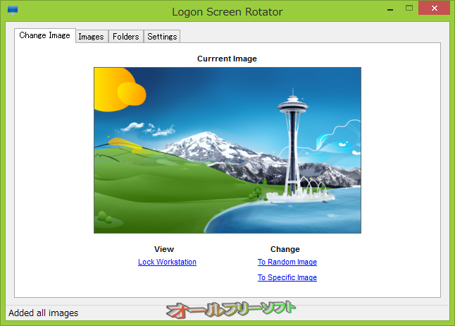 Logon Screen Rotator--Change Image--オールフリーソフト