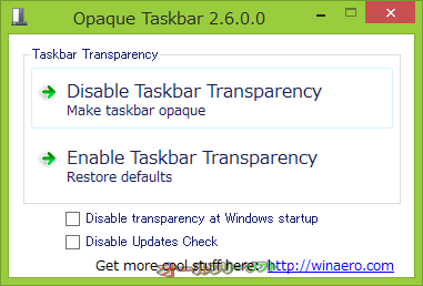 Opaque Taskbar--起動時の画面--オールフリーソフト
