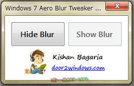 Windows 7 Aero Blur Tweaker--起動時の画面--オールフリーソフト
