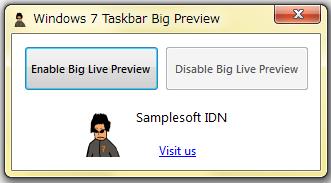 Windows 7 Taskbar Big Preview--起動時の画面--オールフリーソフト